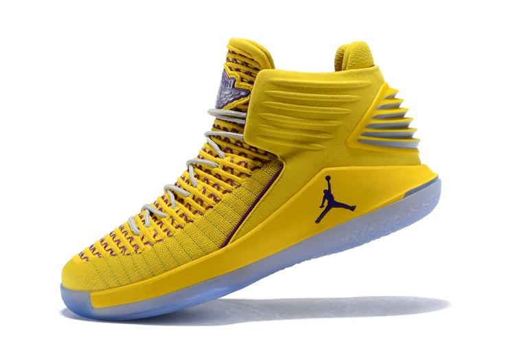 New Air Jordan 32 Warriors Yellow/Light Purple Men's Basketball Shoes