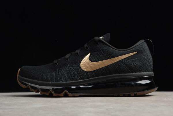 Nike Flyknit Air Max Black Gold Men's Running Shoes 845615-993 For ...