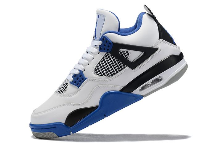 Buy Air Jordan 4 White/Royal Blue-Black Men's Shoes