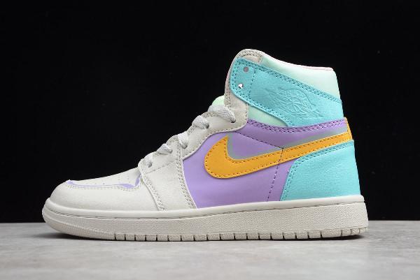 Air Jordan 1 White Purple Green Orange Girls Shoes