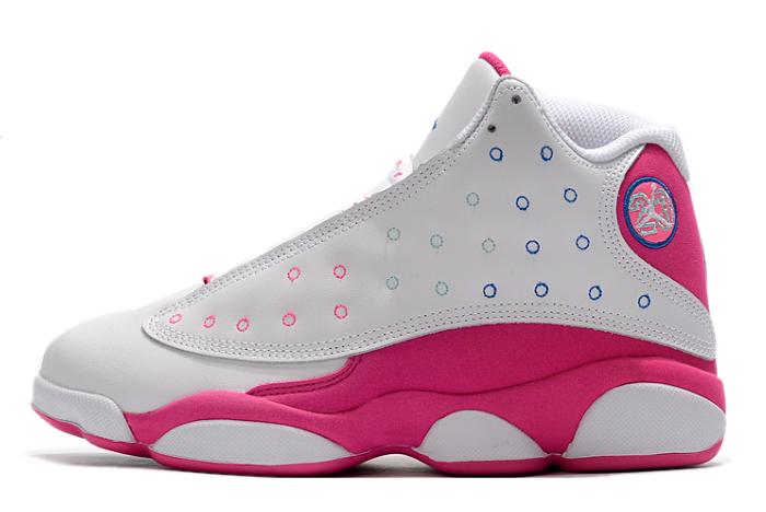 2020 Air Jordan 13 GS White/Vivid Pink-Blue Girls Shoes For Sale