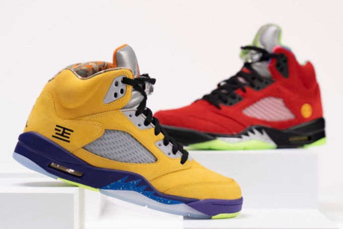 "Cheap Air Jordan 5 ""What The"" Varsity Maize/Court Purple-Ghost Green-Solar Orange CZ5725-700"