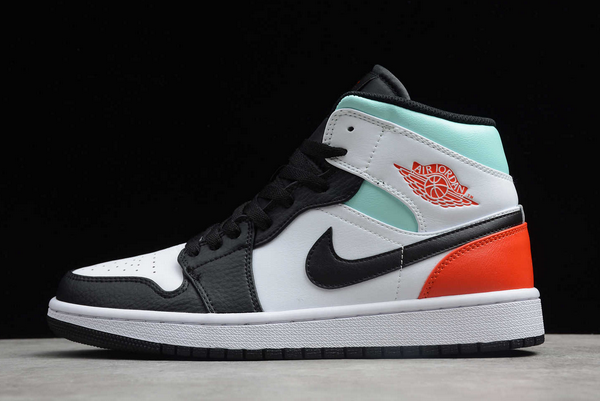 "To Buy Air Jordan 1 Mid ""Red Mint"" White Black Red Spruce Shoes BQ6931-100-1"