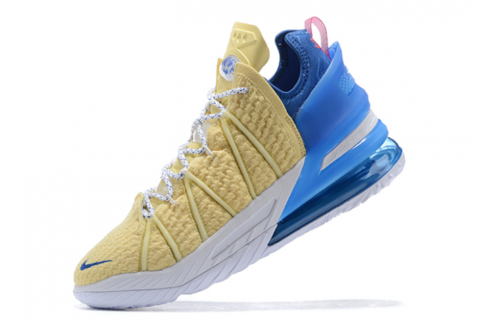 2020 Buy Nike LeBron 18 Yellow/Blue-White-Pink Sneakers For Sale