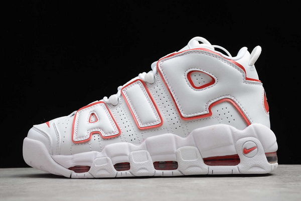 2020 Cheap Nike Air More Uptempo White Varsity Red Basketball Shoes 921948-102