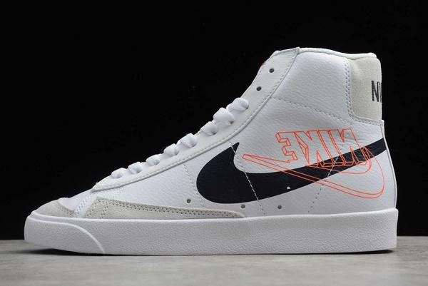 2020 Cheap Nike Blazer Mid 77 Reverse Logo Swoosh White DA4651-100