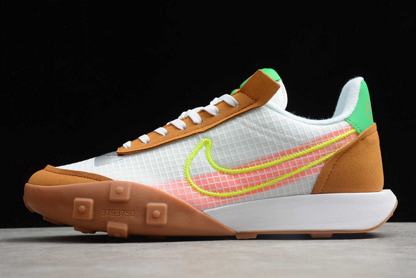 2020 Nike Waffle Racer 2X White/Brown-Green-Pink CK6647-005 For Sale