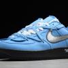 2020 Cheap Off-White x Nike Air Force 1 07 Low University Blue/Black-White Shoes CK0866-401-2