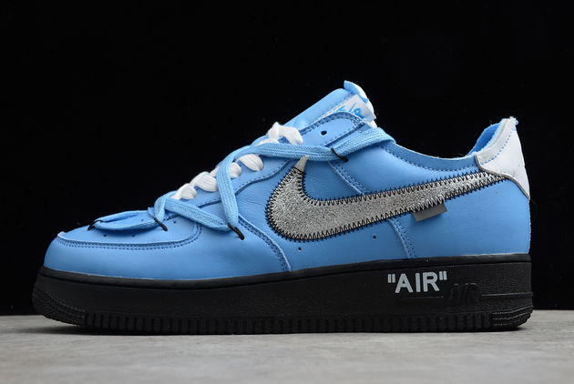 2020 Cheap Off-White x Nike Air Force 1 07 Low University Blue/Black-White Shoes CK0866-401