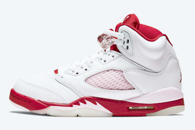 "Latest 440892-106 Air Jordan 5 ""Pink Foam"" White/Pink Foam-Gym Red Shoes"