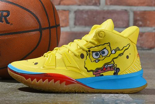 """2020 New SpongeBob SquarePants x Nike Kyrie 7 """"SpongeBob"""" Opti Yellow Shoes"""