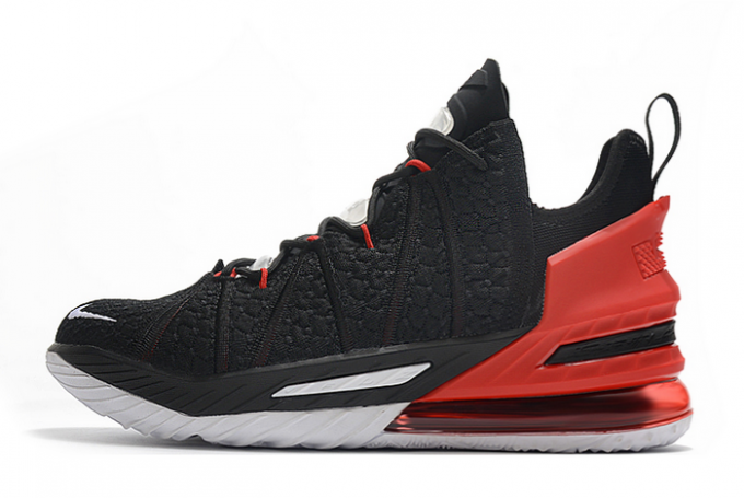 2020 Nike LeBron 18 Black/Varsity Red-White Shoes For Sale