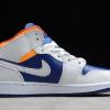 554725-131 Girl's Air Jordan 1 Mid White Laser Orange Deep Royal Blue Shoes -1