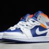 554725-131 Girl's Air Jordan 1 Mid White Laser Orange Deep Royal Blue Shoes -2