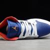 554725-131 Girl's Air Jordan 1 Mid White Laser Orange Deep Royal Blue Shoes -3