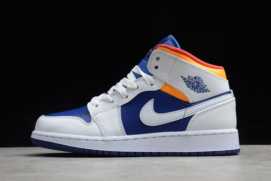 554725-131 Girl's Air Jordan 1 Mid White Laser Orange Deep Royal Blue Shoes