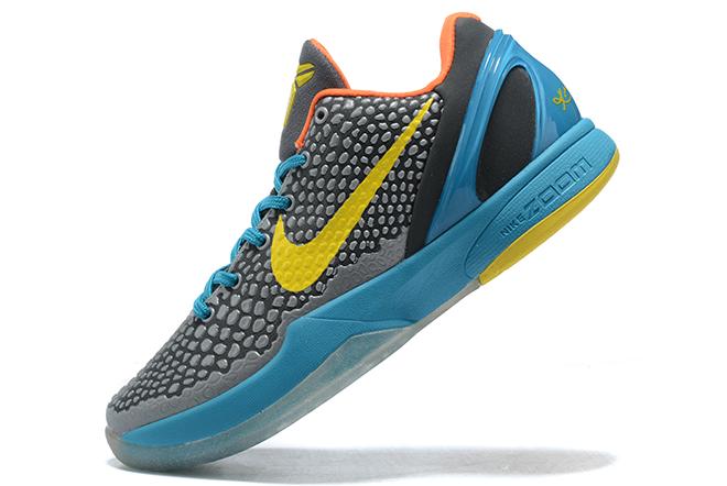 "Latest Nike Kobe 6 Protro ""Helicopter"" Dark Grey/Vibrant Yellow-Glass Blue For Men"