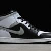 "2020 Air Jordan 1 Mid ""White Shadow"" Black/Medium Grey-White Outlet Sale 554724-073-1"