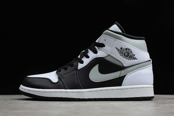 "2020 Air Jordan 1 Mid ""White Shadow"" Black/Medium Grey-White Outlet Sale 554724-073"