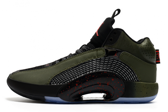 2021 Latest Air Jordan 35 Olive/Black-Fire Red For Sale