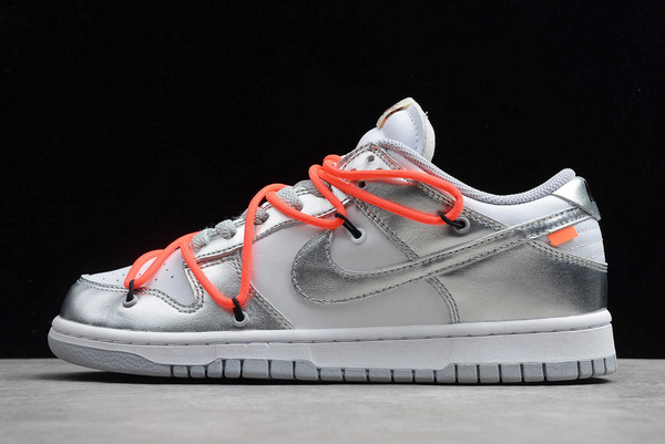 New Off-White x Nike SB Dunk Low Silver/White-Black Sneakers CT0856-800