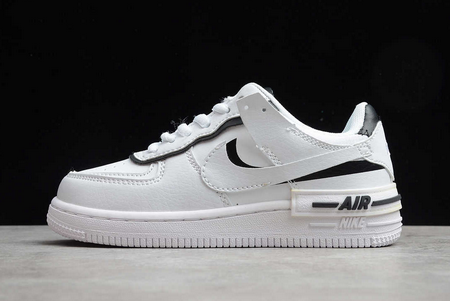 2021 Cheap Nike Kids Air Force 1 Shadow SE White Black AQ4211-111