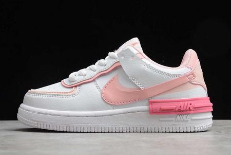 2021 Cheap Nike Kids Air Force 1 Shadow SE White Pink AQ4211-109
