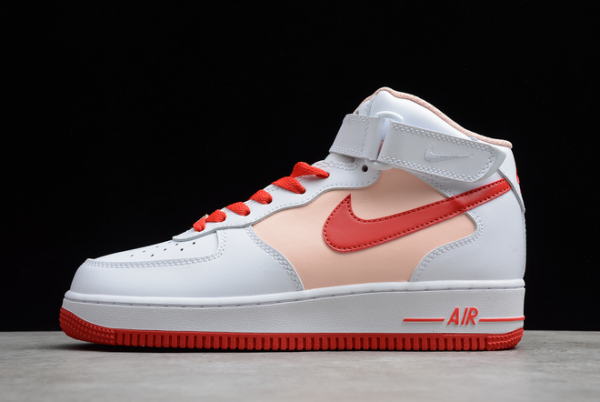 2021 Latest Nike Air Force 1 07 Mid White Red For Sale CD0884-123