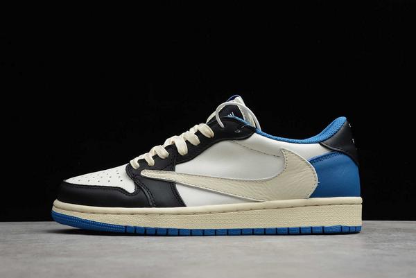 2021 Latest Travis Scott x Fragment x Air Jordan 1 Low Military Blue For Sale CQ3227-105