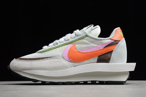 2021 Latest Sacai x Nike LVD Waffle Daybreak Medium Grey Orange Pink BV0076-002