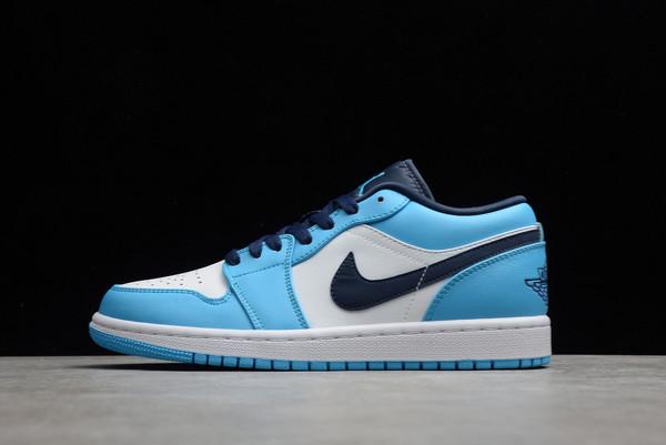 2021 Air Jordan 1 Low UNC White University Blue-Black Basketball Shoes 553558-144