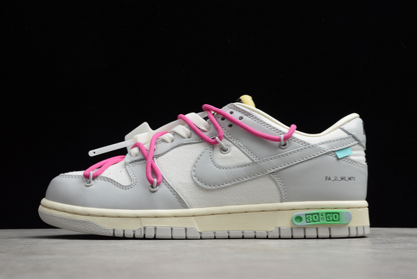 2021 New Off-White x Nike SB Dunk Low The 50 White Grey Pink Sale DM1602-122