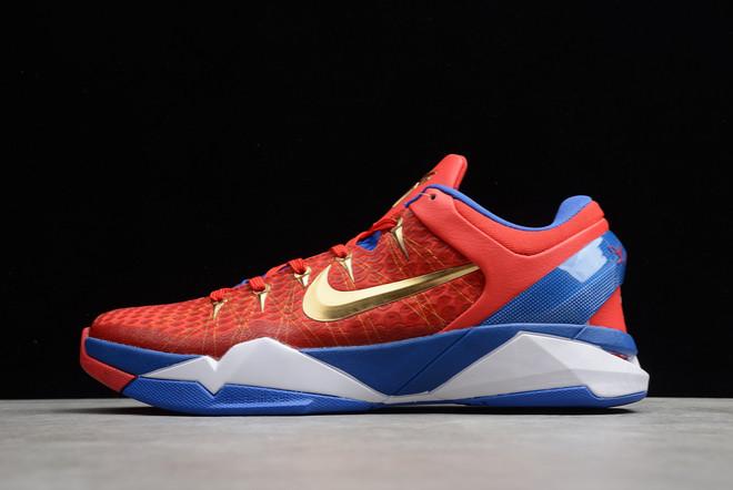 2021 Cheap Nike Zoom Kobe 7 VII Red/Royal Blue-Metallic Gold 488371-406