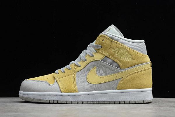 2021 Air Jordan 1 Mid Mixed Textures Yellow Shoes For Men DA4666-001