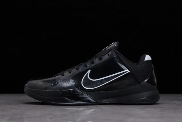 2021 Nike Zoom Kobe 5 Black Out Sneakers On Sale 386429-003