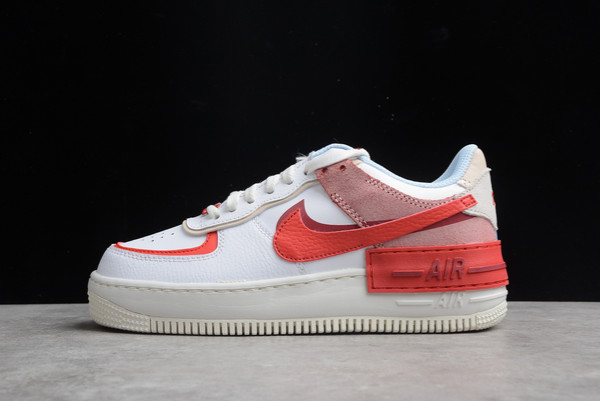 Nike Wmns Air Force 1 Shadow Cracked Leather Summit White University Red-Gym Red For Sale CI0919-108