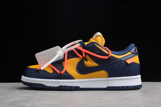 Off-White x Nike Dunk Low University Gold Midnight Navy-White For Sale CT0856-700