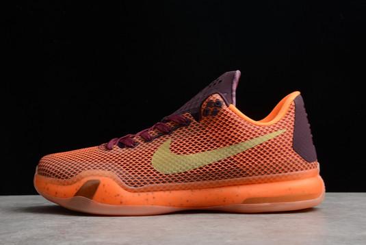 Nike Kobe 10 Silk Road Merlot Metallic Gold-Villain Red-Total Orange For Sale 705317-676