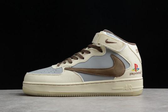 Travis Scott x Sony Play Station 5 x Nike Air Force 1 07 TS PS5 Mid Beige Grey Brown For Sale BQ5828-202